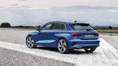 Nuova Audi A3 Sportback 2020, vista 3/4 posteriore