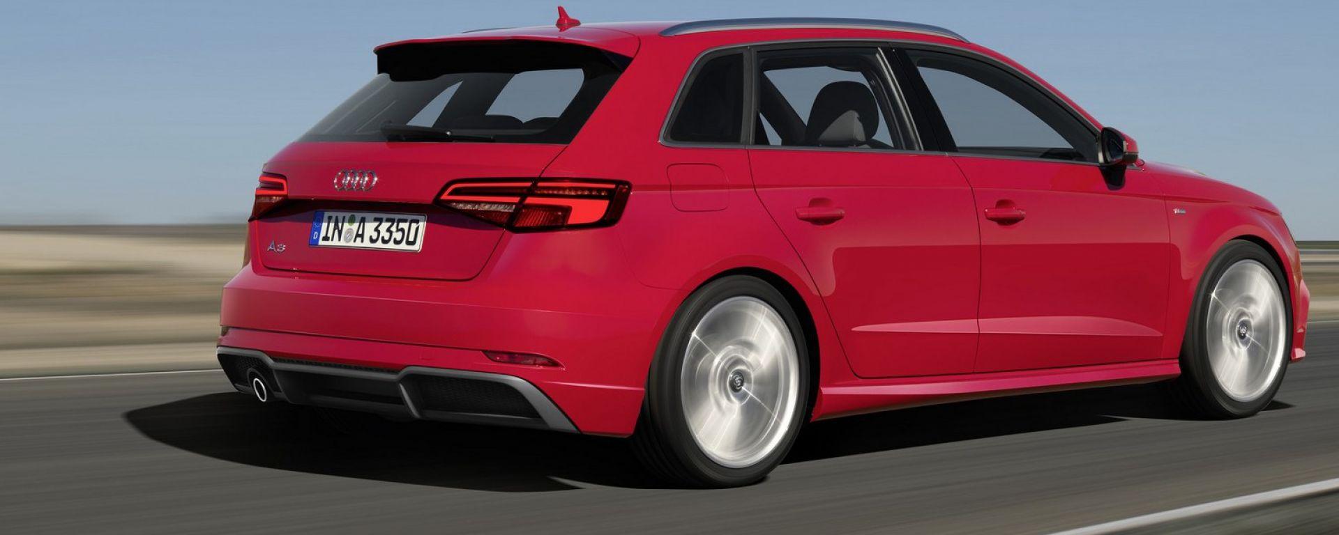 Nuova Audi A3 Sportback: 3/4 posteriore