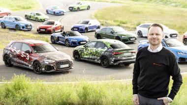Nuova Audi RS3: le prime immagini della sportiva tedesca insieme ai modelli Audi Sport