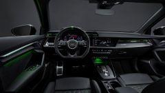 Nuova Audi RS3 Sportback: gli interni col il pacchetto RS Design verde