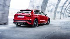 Nuova Audi RS3 Sportback: visuale di 3/4 posteriore