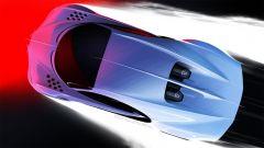 Nuova Bugatti Chiron Super Sport: un altro disegno mostra la parte superiore della hypercar