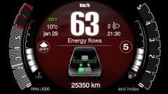 Nuova Fiat 500 Hybrid: la strumentazione con l'indicazione dei flussi di energia