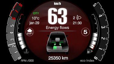 Nuova Fiat 500 Hybrid: la strumentazione indica il flusso di energia