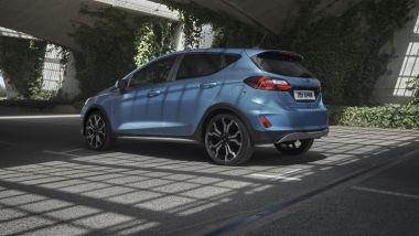 Nuova Ford Fiesta 2021, allestimento Active: visuale di 3/4 posteriore
