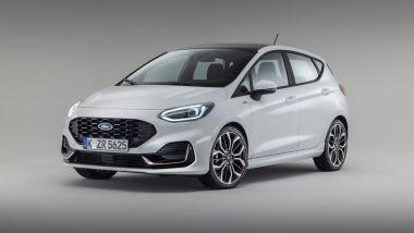 Nuova Ford Fiesta 2021, allestimento ST-Line: visuale di 3/4 anteriore