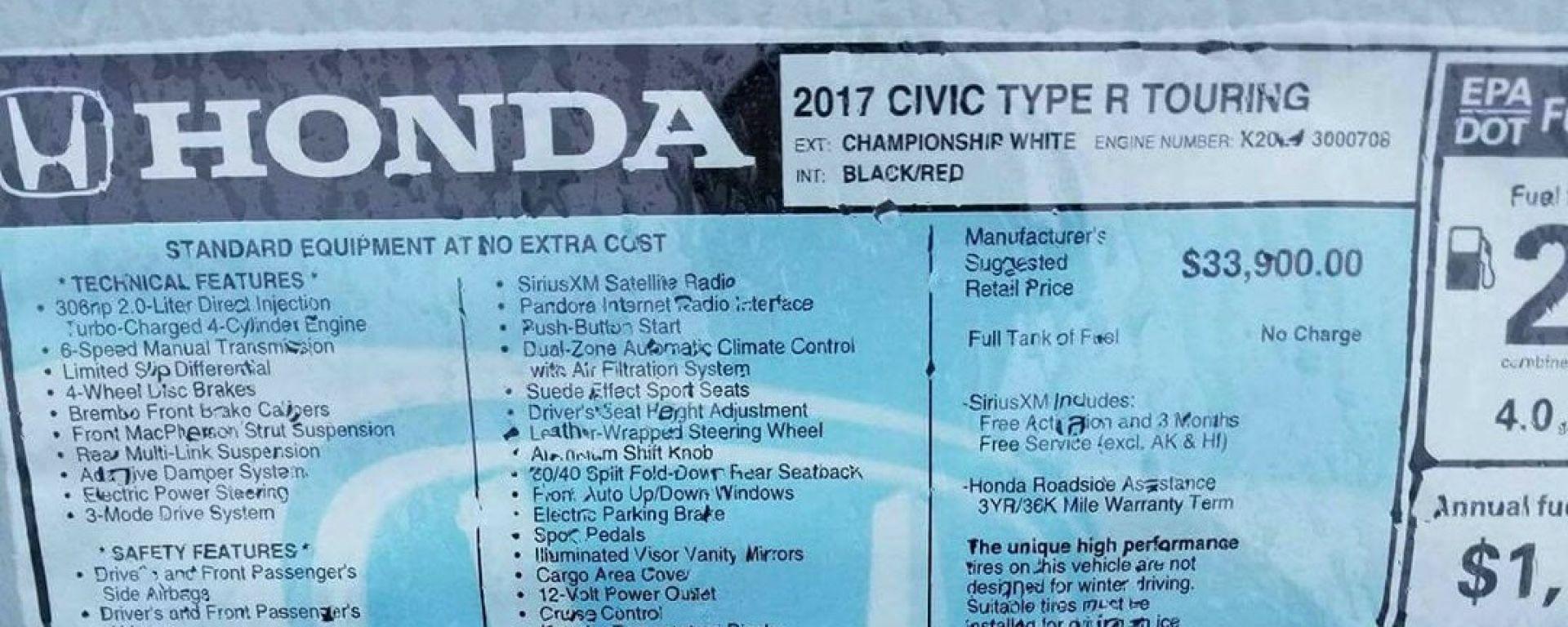 Nuova Honda Civic Type-R 2017: svelato il prezzo (negli USA)