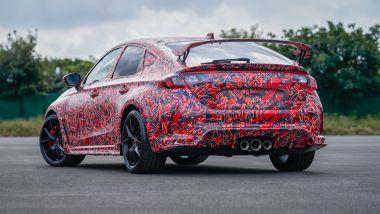 Nuova Honda Civic Type R: visuale di 3/4 posteriore