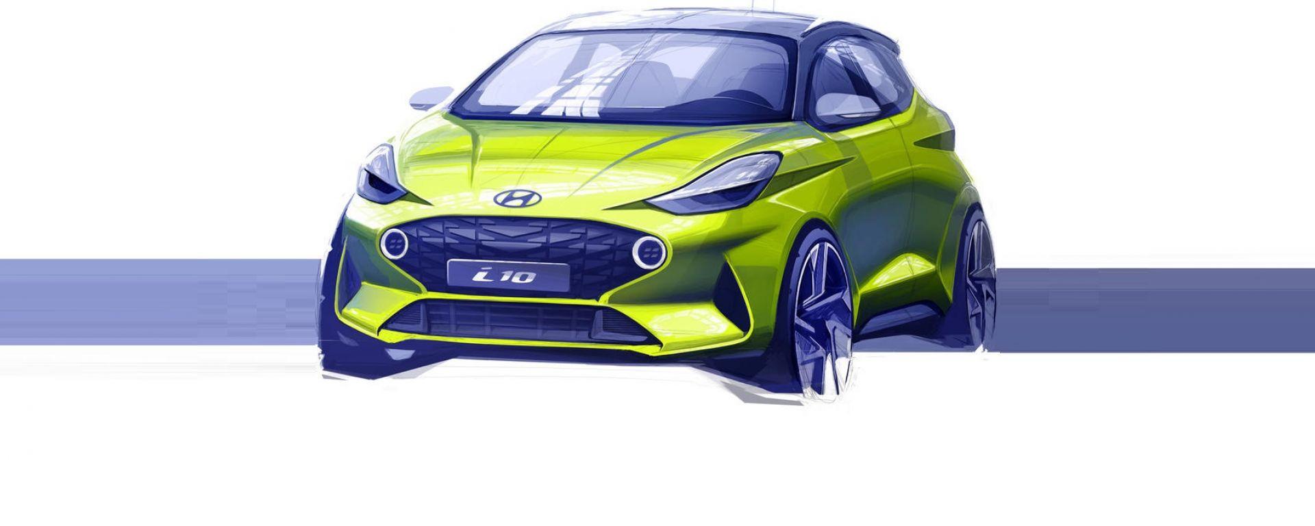 Nuova Hyundai i10 2020: il disegno teaser