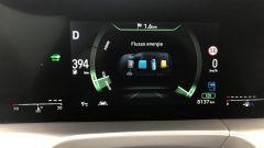 Nuova Hyundai Nexo: un dettaglio del cruscotto digitale con la gestione dei flussi di energia