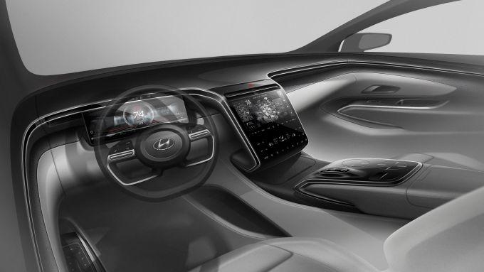 Nuova Hyundai Tucson: una vista dell'abitacolo Dual Cockpit