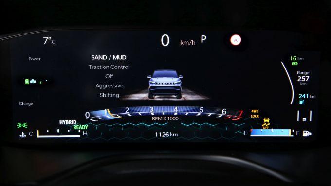 Nuova Jeep Compass 2021: la Trailhawk 4xe, il cruscotto digitale