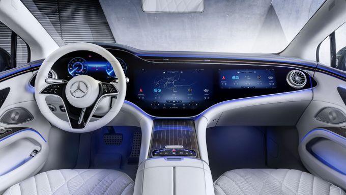 Nuova Mercedes EQS: gli interni con MBUX Hyperscreen