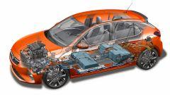 Nuova Opel Corsa-e: la trasparenza mostra tutto l'impianto elettrico