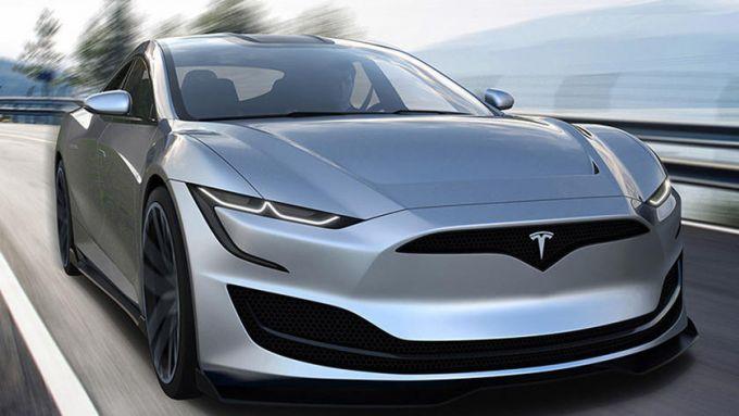 Nuova Tesla Model S: il frontale molto aggressivo della berlina elettrica americana