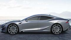 Nuova Tesla Model S: una vista di profilo mostra come potrebbe essere lo stile sportivo e moderno