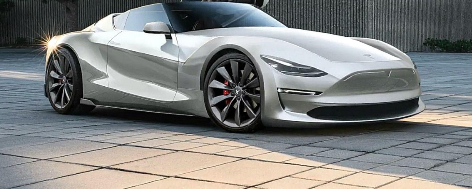 Nuova Tesla Roadster: un rendering di Peisert Design
