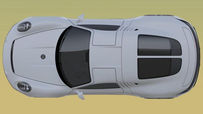 Nuovo brevetto Porsche: la vista dall'alto mostra la particolare apertura delle portiere