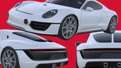 Nuovo brevetto Porsche: un collage con le immagini del prototipo