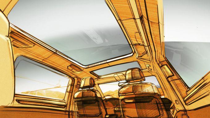Nuovo Volkswagen Multivan T7: un bozzetto dell'abitacolo