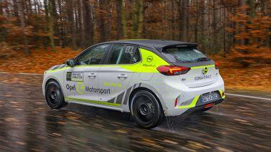 Opel Corsa-e Rally, immagini dai test al centro prove Opel di Dudenhofen