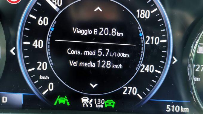 Opel Insignia Sports Tourer 2021, il consumo in autostrada da computer di bordo