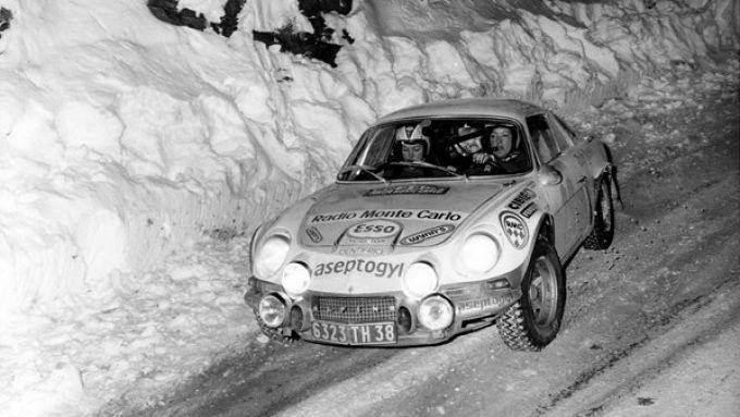 Pat Moss alla guida della Alpine A110 al rally di Montecarlo 1973