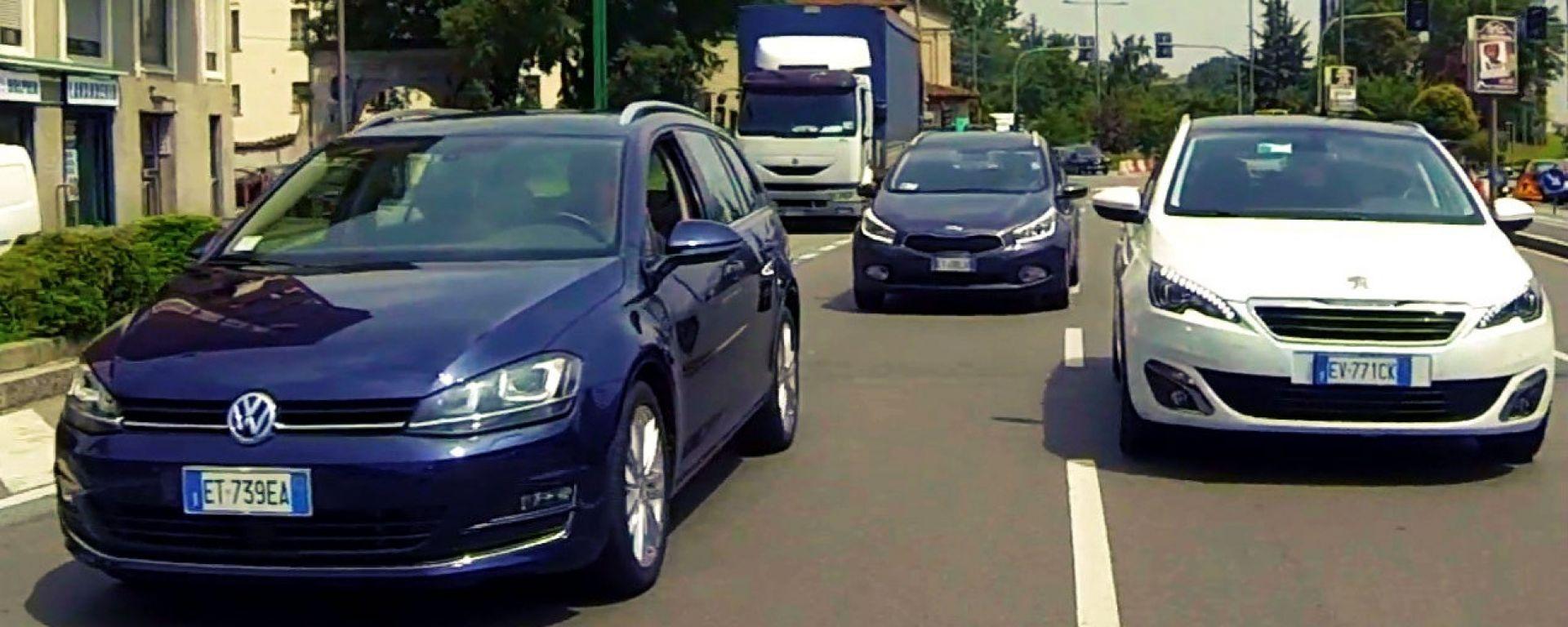Peugeot 308 SW vs Kia cee'd Sportswagon vs Golf Variant