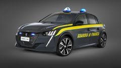 Peugeot e-208 per la Guardia di Finanza: visuale di 3/4 anteriore