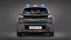 Peugeot e-208 per la Guardia di Finanza: visuale posteriore