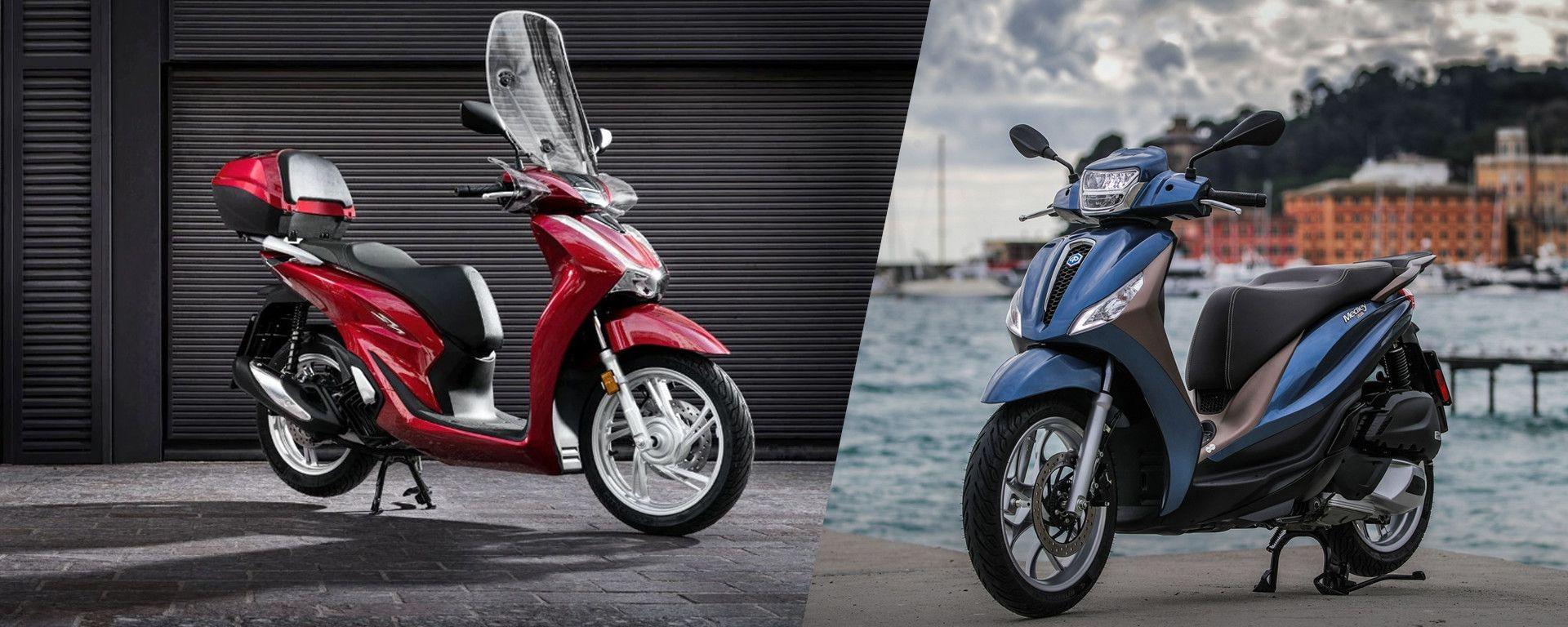 Piaggio Medley vs Honda SH: Italia contro Giappone scooter a ruote alte