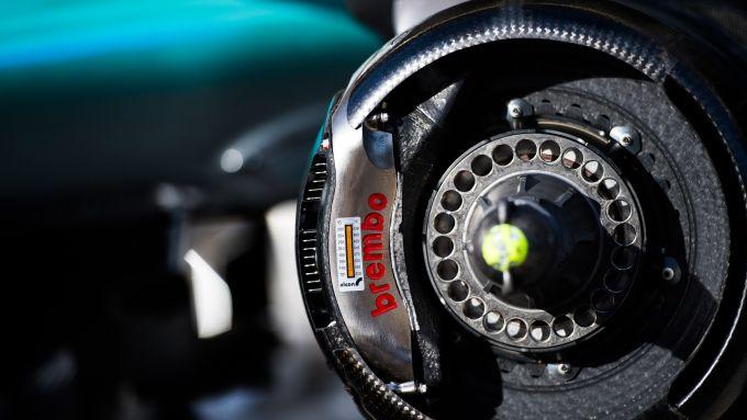 Pinze freni Brembo montate su una monoposto di Formula 1