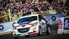Pollara e la Peugeot 208 R2 del Team Peugeot Sport Italia