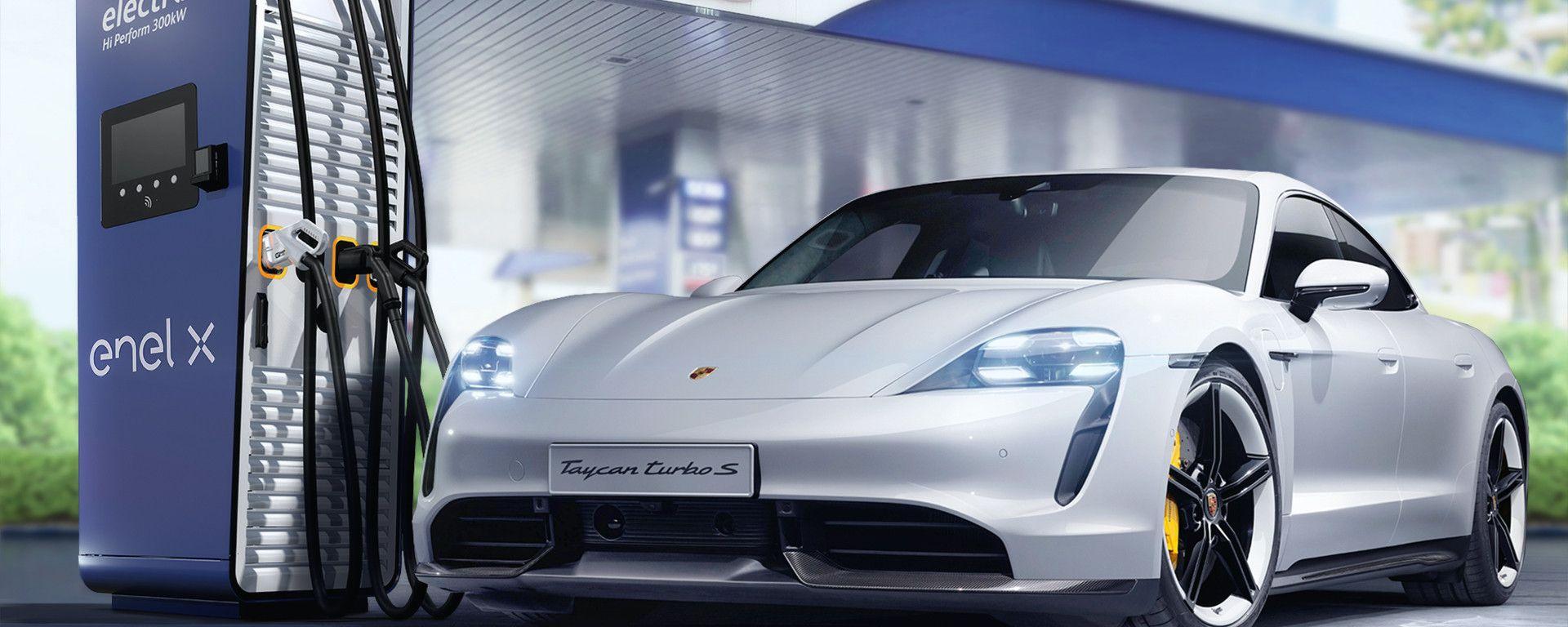 Porsche 2021, le colonnine con Enel X e Q8