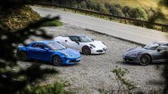 Porsche 718 Cayman, Alfa Romeo 4C Competizione e Alpine A110 Premiere Edition: foto di gruppo