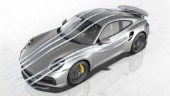 Porsche 911 Turbo S 2020, raffigurazione dei flussi d'aria attorno alla carrozzeria