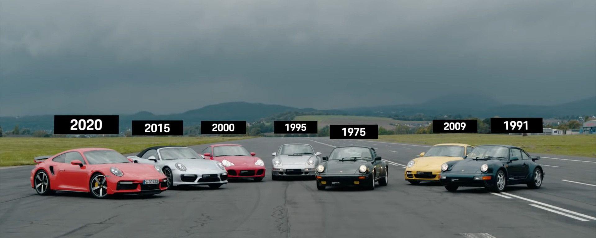 Porsche 911 Turbo: sette generazioni in drag race, il video