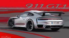 Porsche 992 GT1: il posteriore nel rendering di Guillaume Lerouge