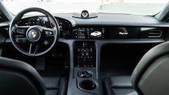 Porsche Taycan Turbo S: la plancia con i display a tutta lunghezza