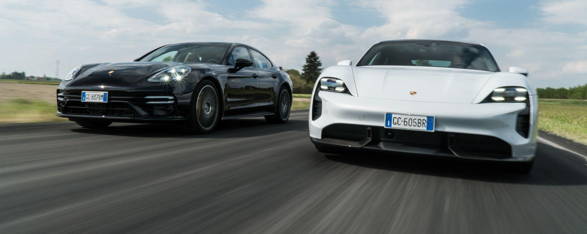 Porsche Taycan Turbo S vs Panamera Turbo S: super sfida fra le due berline sportive tedesche