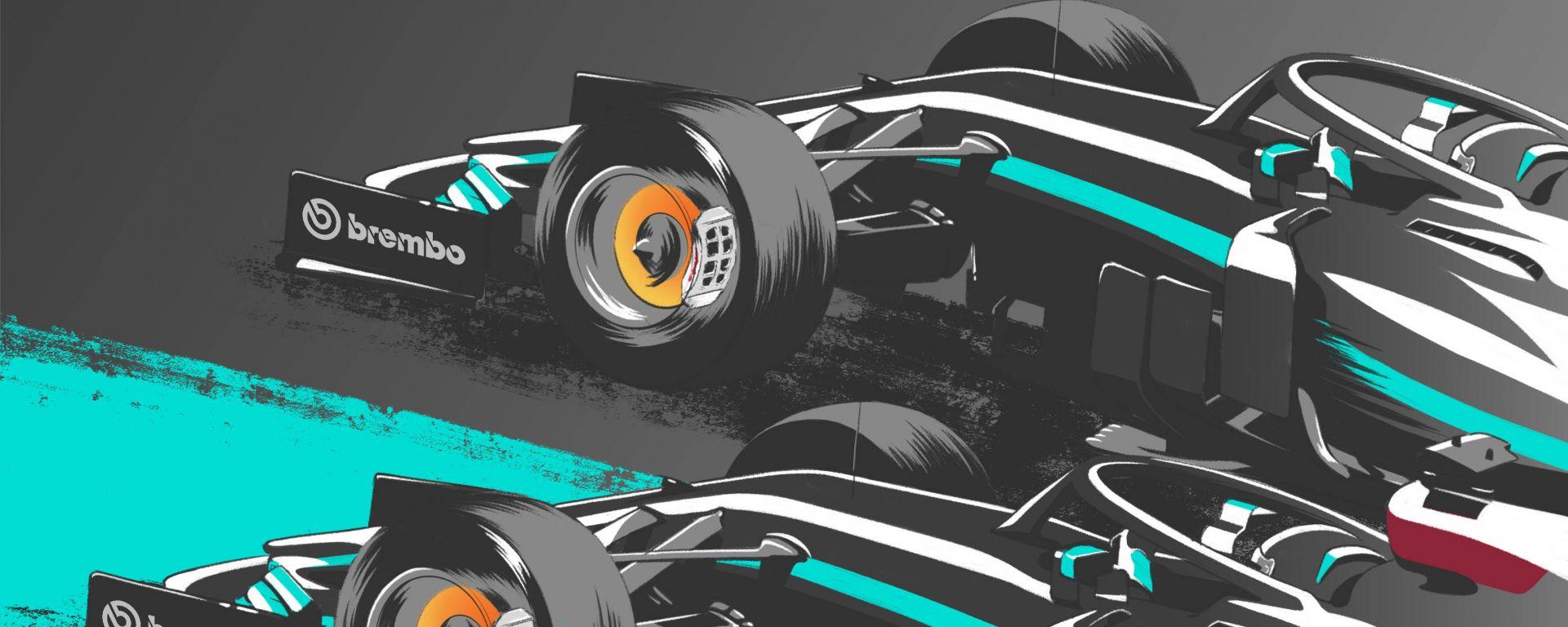 Poster lunghezza in frenata, Mercedes su Mercedes by Brembo