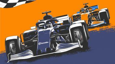 Poster sorpasso al traguardo AlphaTauri su McLaren by Brembo