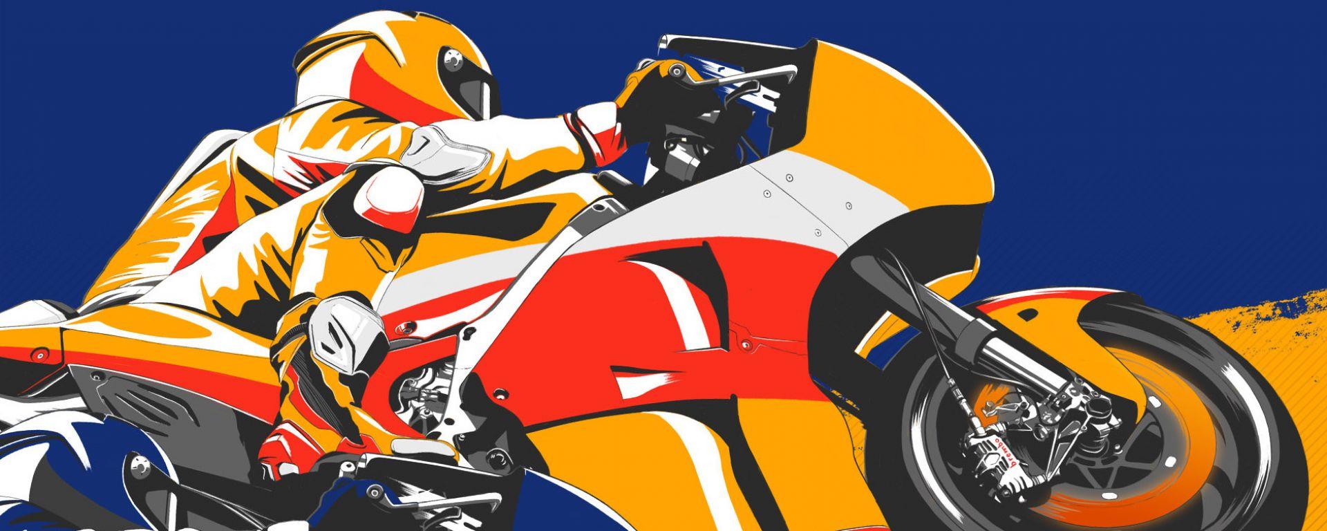 Poster sorpasso Honda su Yamaha by Brembo