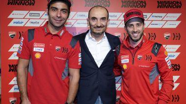Presentazione Ducati Desmosedici GP20, Danilo Petrucci, Claudio Domenicali e Andrea Dovizioso