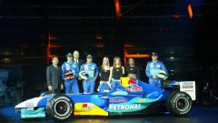 Presentazione Sauber C23 2004, con Massa, Fisichella, Peter Sauber e le Sugababes