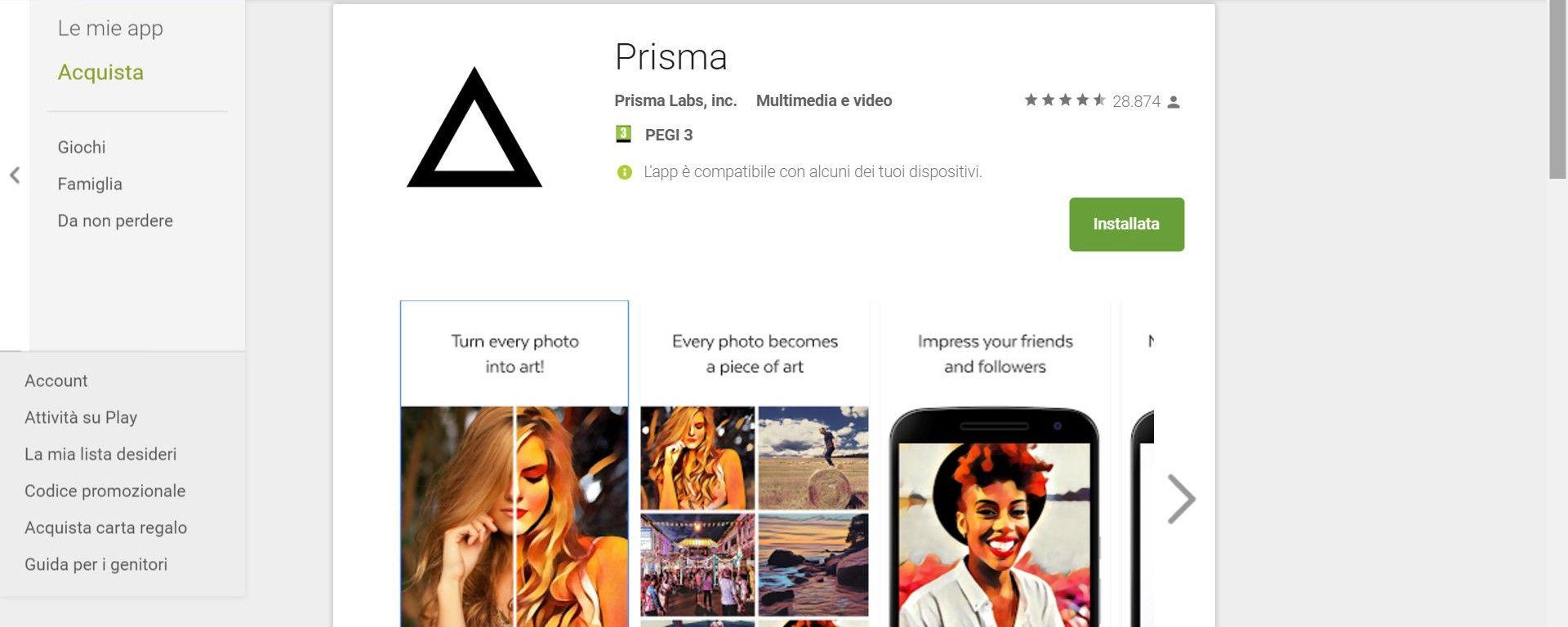 Prisma per Android è su Google Play