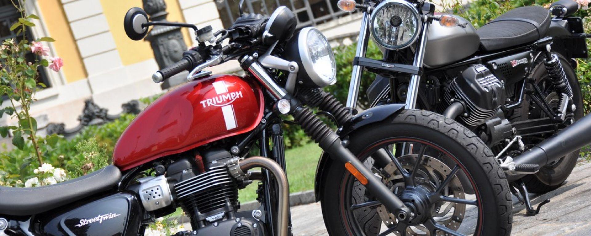 Moto Guzzi V9 Bobber sfida Triumph Street Twin