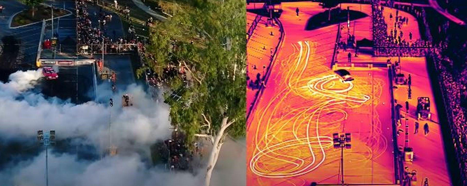 Queensland Aerial, come ti riprendo una esibizione di bornout con telecamera a infrarossi