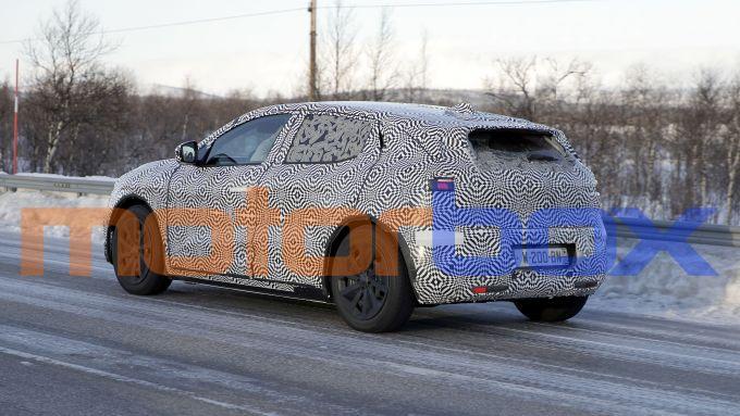 Renault Megan-E: visuale di 3/4 posteriore