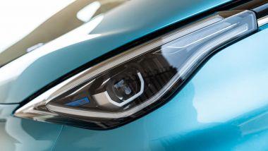 Renault Zoe, la prova su strada: i gruppi ottici anteriori